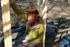 Freya an der Baustelle